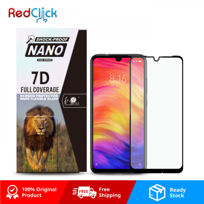 iTOP Xiaomi Redmi Note 7 7D Full Coverage Screen Protector Nano Flexible Glass Film - Shock Proof