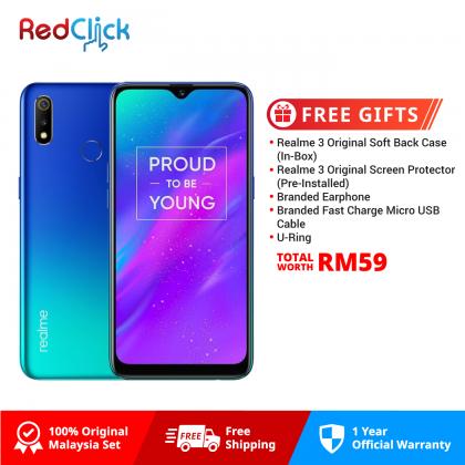 Realme 3 (3GB/32GB) Original OPPO Malaysia Set + 3 Free Gift Worth RM59