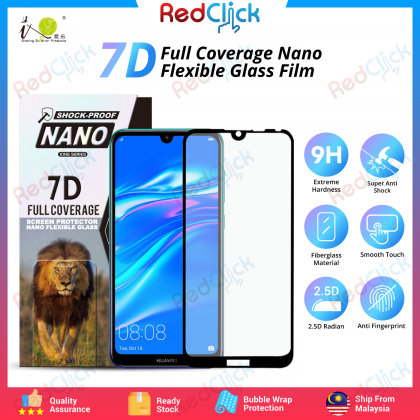iTOP Huawei Y7 Pro (2019) 7D Full Coverage Screen Protector Nano Flexible Glass Film - Shock Proof
