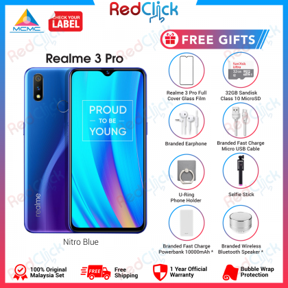 Realme 3 Pro (4GB/64GB) Original OPPO Malaysia Set + 4 Free Gift Worth RM199