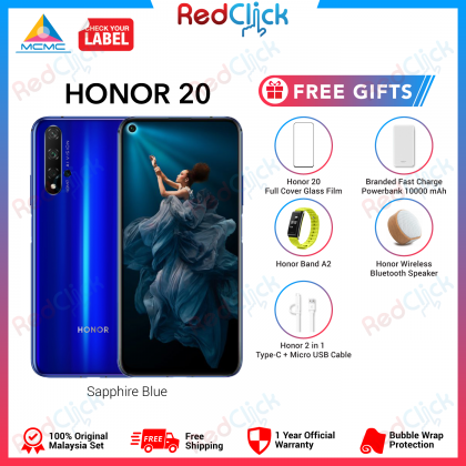 Honor 20 (6GB/128GB) Original Honor Malaysia Set + 5 Free Gift Worth RM299