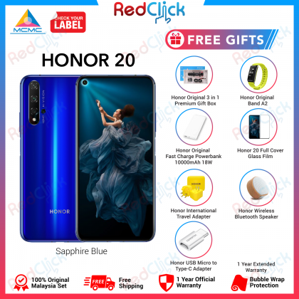 Honor 20 (6GB/128GB) Original Honor Malaysia Set + 7 Free Gift Worth RM499