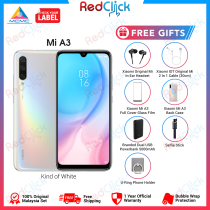 Xiaomi Mi A3 (4GB/64GB/128GB) Original Xiaomi Malaysia Set + 7 Free Gift Worth RM199