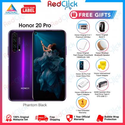 Honor 20 Pro (8GB/256GB) Original Honor Malaysia Set + 7 Free Gift Worth RM699