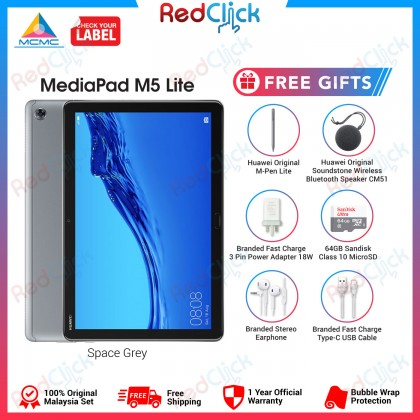 "Huawei Mediapad M5 Lite 10.1"" (3GB/32GB) Original Huawei Malaysia Set + 6 Free Gift Worth RM549"