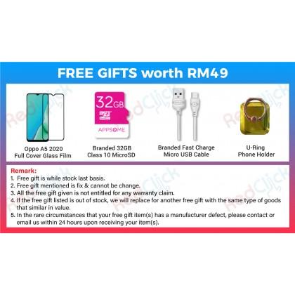 OPPO A5 2020 (3GB/64GB)(4GB/128GB) Original OPPO Malaysia Set + 4 Free Gift Worth RM 49