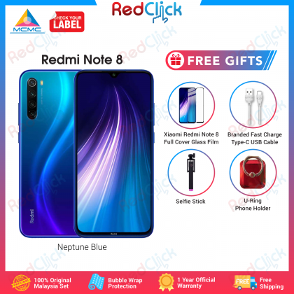 Xiaomi Redmi Note 8 (4GB/64GB/128GB) Original Xiaomi Malaysia Set + 4 Free Gift Worth RM 49