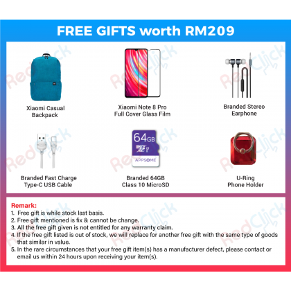 Xiaomi Redmi Note 8 Pro (6GB/64GB/128GB) Original Xiaomi Malaysia Set + 6 Free Gift Worth RM 209