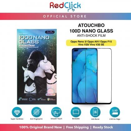 Atouchbo Oppo RENO 3/Oppo A91/Oppo F15/Vivo V20/Vivo V20SE  100D Elegant Arc Edge Nano Anti-Shock Glass Film