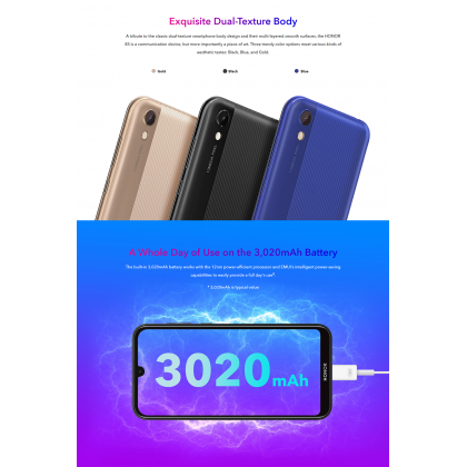 Honor 8S (2GB/32GB) Original Honor Malaysia Set + 4 Free Gift Worth RM69