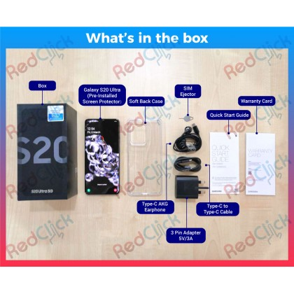Samsung Galaxy S20 Ultra 5G /g988b (12GB/128GB) Original Samsung Malaysia Set + 4 Free Gift Worth RM499