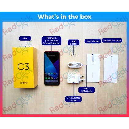 Realme C3 (3GB/32GB) Original Realme Malaysia Set + 3 Free Gift Worth RM109