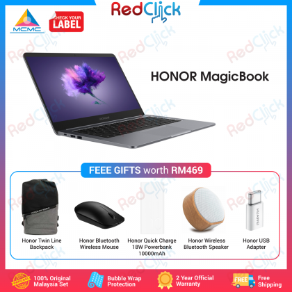 Honor MagicBook (8GB/512GB SSD) Original Honor Malaysia Set + Free Gift Worth RM 1017