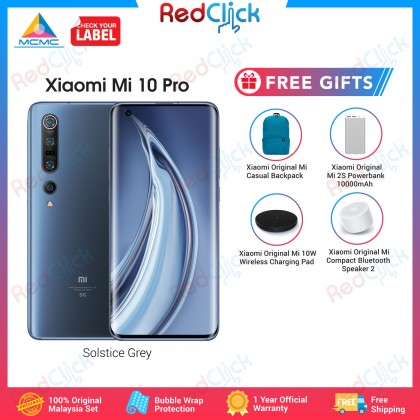 Xiaomi Mi 10 Pro 5G (8GB/256GB) Original Xiaomi Malaysia Set + 4 Free Gift Worth RM179