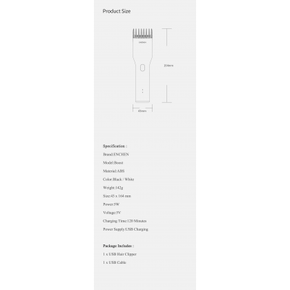 Xiaomi Enchen Wireless Electric Men Adjustable Hair Trimmer Hair Clipper Hair Cutter Rechargeable USB Type-C Fast Charging