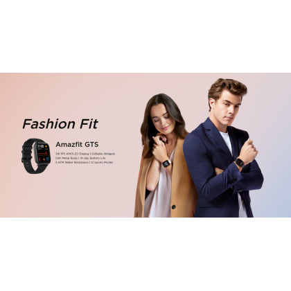"""(Official Amazfit) Amazfit GTS (A1914) Smart Watch 1.65"""" 341 PPI AMOLED Display Slim Metal Body Waterproof 12 Sports Mode 220mAh 14 Day Battery Life + Free Gift"""