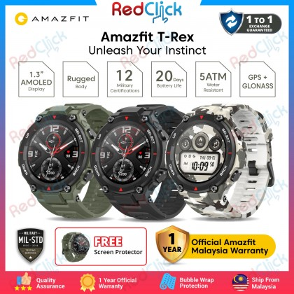 """Amazfit T-Rex (A1919) Smart Watch 1.3"""" AMOLED Display Rugged Body 12 Military Certifications Waterproof Fitness Tracking GPS+Glonass 390mAh Up to 20 days battery life"""