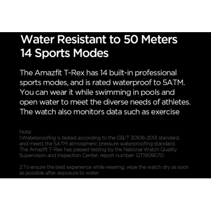 """(Official Amazfit) Amazfit T-Rex (A1919) Smart Watch 1.3"""" AMOLED Display Rugged Body 12 Military Certifications Waterproof Fitness Tracking GPS+Glonass 390mAh Up to 20 days battery life"""