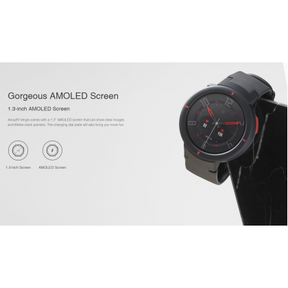"""Amazfit Verge (A1811) Smart Watch 1.3"""" AMOLED Display Waterproof IP68 Call Function 390mAh Up to 5 days Battery Life Built in Mic&Speaker GPS+Glonass + Free Gift"""