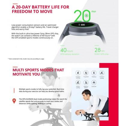 "Amazfit Verge Lite (A1818) Smart Watch 1.3"" AMOLED Display GPS+Glonass 390mAh Up to 20 days battery life Waterproof IP68 Multiple Sport Mode + Free Gift"