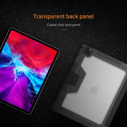 Nillkin Apple iPad Pro 12.9 2020/2018 Bumper Leather Flip Case Stand Design with Pencil Holder Magnetic Cover Anti Shockproof Tough + Screen Protector