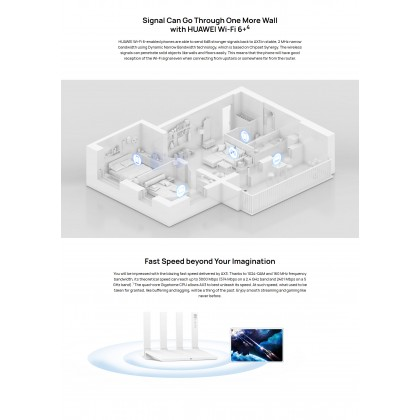 Huawei WIFI AX3 Quad-Core Router Wi-Fi 6 Plus Revolution Large Bandwidth 160 MHz Fast Speed 3000 Mbps