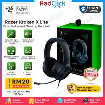 Razer Kraken X Lite Essential Wired Gaming Headset Ultra Light Comfort Heavy Bass 7.1 Surround Sound Bendable Cardioid Microphone