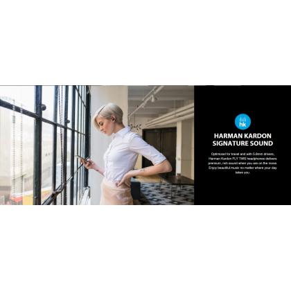 Harman Kardon FLY TWS Wireless Earbuds Premium Charging Case IPX 5 Water Resistant  6 Hours Music Playback Support Harman Kardon Apps EQ Adjust + Free Gift