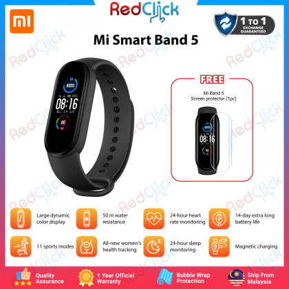 "Xiaomi Mi Band 5 Smartband 1.1"" Colourful Screen Water Resistant Multi-Sport Modes Tracking 14 Days Battery Life Xiaomi Original Product + Free Gift"