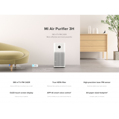 Xiaomi Mi Air Purifier 3H OLED Touch Screen Display True HEPA Filter Support Google Assistant Xiaomi Original Product