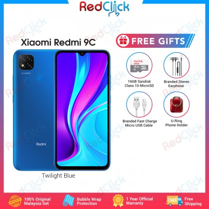 Xiaomi Redmi 9C (3GB/64GB) Original Xiaomi Malaysia Set + 4 Free Gift Worth RM49