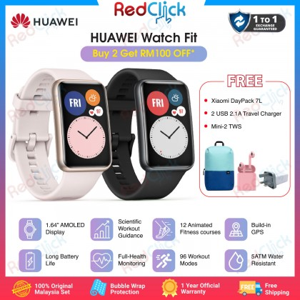 """Huawei Watch Fit 1.64"""" Vivid AMOLED Display Quick Workout Animations Lighter Design Support 24 Hours Heart Rate Monitoring Smart Watch Original Huawei Product + Free Gift"""