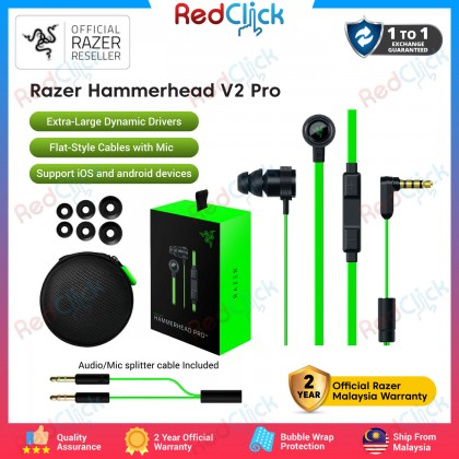 Razer Hammerhead V2 Pro 10mm Extra-Large Dynamic Drivers Flat-Style Cables with Mic support iOS and Android Devices Original Razer Product