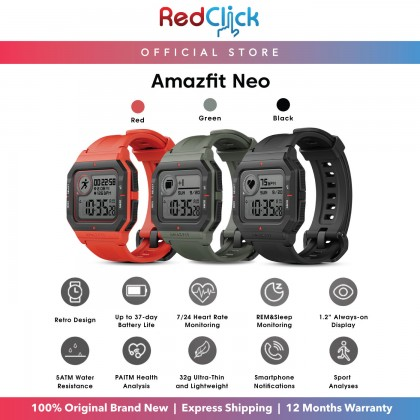 (Official Amazfit) Amazfit Neo Fitness Smart Watch Heart Rate Monitoring 37 Days Battery Life Support Always on Display and Water Resistant up to 50 Meters