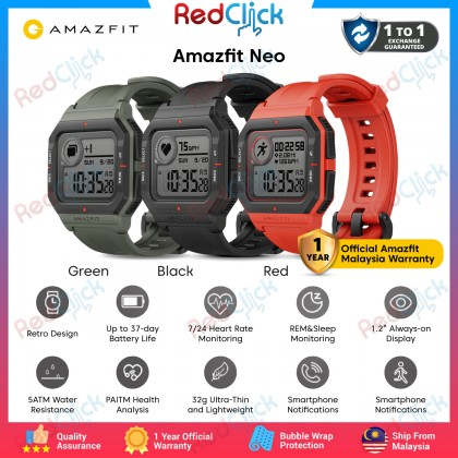 Amazfit Neo Fitness Smart Watch Heart Rate Monitoring 37 Days Battery Life Support Always on Display and Water Resistant up to 50 Meters