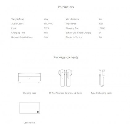 Xiaomi Mi True Wireless Earphone 2 Basic /TWSEJ08WM Trues Wireless Stereo Fast Connection Long Lasting Battery Stable Bluetooth Signal Call Noise Reduction Global Version