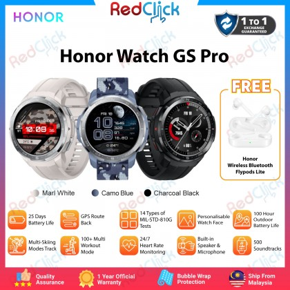 "Honor Watch GS Pro 1.39"" AMOLED Screen 25 days battery life 100+ Exercise mode 14 Military Grade Certification GPS Route back Sp02 Monitoring Water-Resistant 5 ATM Original Honor Malaysia set + Free Gift"