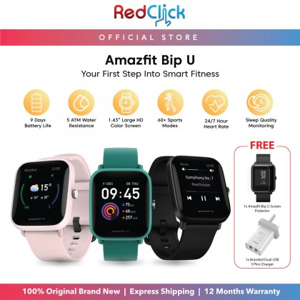 """(Official Amazfit) Amazfit Bip U (A2017) Smart Watch 1.43"""" Large Color Display 31g Super-Light Body Water Resistant support Blood-Oxygen measurement up to 9 Day Battery Life 60+ Sports Modes Original Amazfit Malaysia Product + Free Gift"""