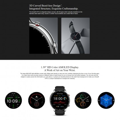 "(Official Amazfit) Amazfit GTR 2 1.39"" AMOLED Display 3D Curved Bezel-less Design Music Storage 14-Day Ultra-Long Battery Life Built-in Mic And Speaker Support Phone Call"