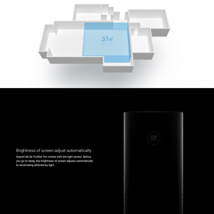 Xiaomi Mi Air Purifier Pro OLED Display High-precision Laser Sensor Covers Area 60 Meters Works With Google Assistance