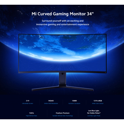 """Xiaomi Mi Curved Gaming Monitor 34"""" Ultrawide Screen 144Hz High Refresh Rate WQHD Resolution Prefect Gaming Monitor + Free Gift"""