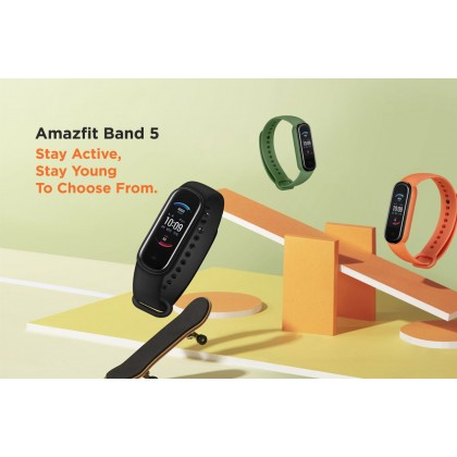 """(Official Amazfit) Amazfit Band 5 (A2005) Smart Band 1.1"""" Full Color AMOLED Display 5ATM Water Resistance support Blood-Oxygen measurement up to 15 Days Battery Life 11 Sports Modes Original Amazfit Product"""