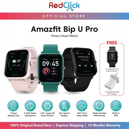 """(Official Amazfit) Amazfit Bip U Pro (A2008) Smart Watch 1.43"""" Large Color Display Build-in GPS support Blood-Oxygen measurement up to 9 Day Battery Life 60+ Sports Modes Original Amazfit Malaysia Product + Free Gift"""