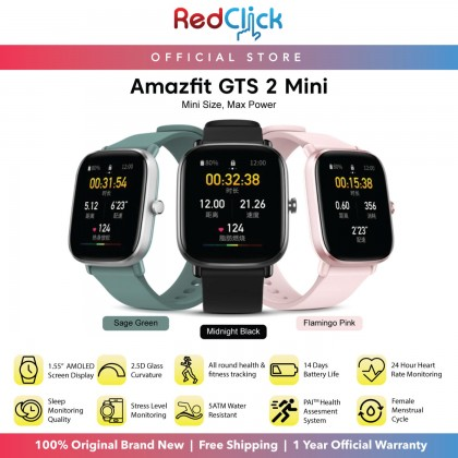 """(Official Amazfit) Amazfit GTS 2 Mini A2018 1.55"""" AMOLED Always On Display Heart Rate Monitoring Sp02 Measurement up to 14 days Battery Life  Cycle Tracking + Free Gift"""