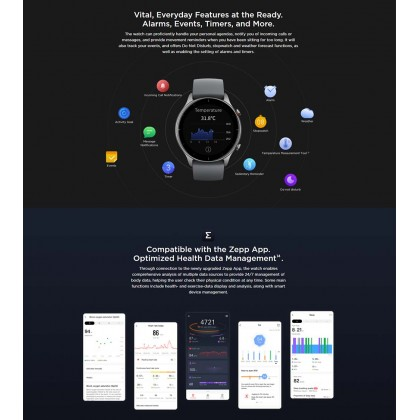 """(Official Amazfit) Amazfit GTR 2e A2023 1.39"""" AMOLED Always On Display 2.5D 24 Hour Heart Rate monitoring Ultra-Long Battery Life + 3 Free Gift"""