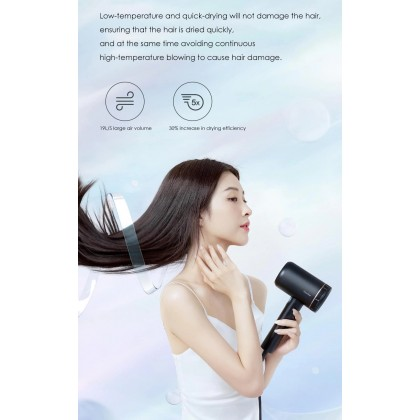 Showsee A8 Ions 1800W High Speed Hair Dryer Low Noise 19L/S Wind Volume Negative ions Double Air Outlet Hair Dryer