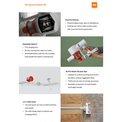 Xiaomi Mi Handheld Vacuum Cleaner G9 2 in 1 Main Brush Detachable Battery Design 20k Pa Suction Vacuum Global Version