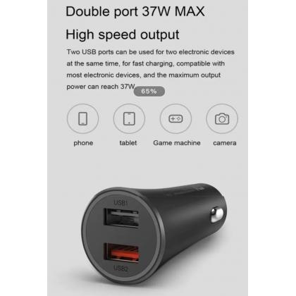 Xiaomi Mi Dual Port Car Charger 37W LED Light Indicator Multiple Security Protection Original Xiaomi Product