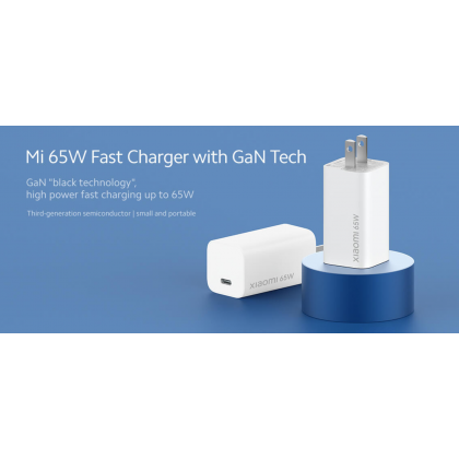 Xiaomi Mi 65W Fast Charger (AD65GEU) With GaN Tech Malaysia 2 Pin Travel Adapter Support Notebook Charging Type-C Port (Included Type-C to Type-C Cable)