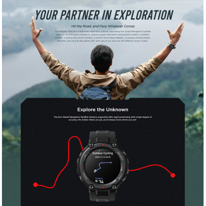 """(Official Amazfit) Amazfit T-Rex Pro 1.3"""" HD AMOLED Display 15 Military-grade Toughness 10 ATM Water-resistance Blood-oxygen Saturation Measurement Smart Watch + Free Gift"""